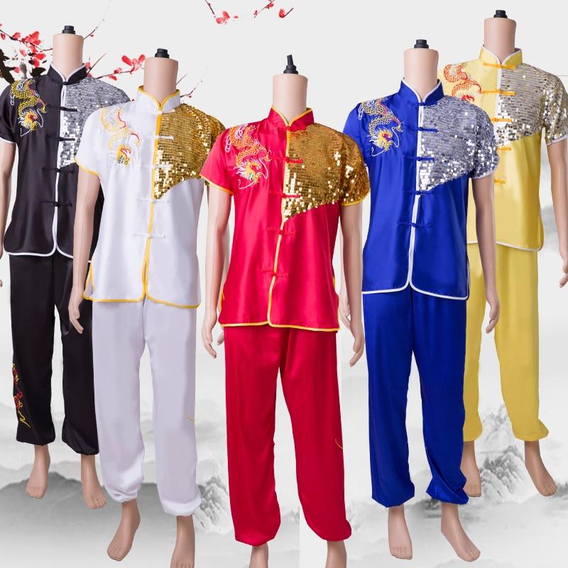 short sleeve practice clothes dragon kung fu martial arts clothing wushu suits dance lion drum team festival dance