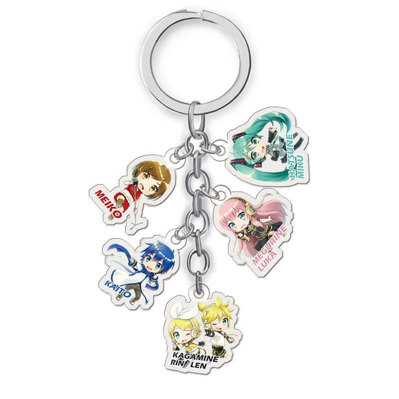 5 in 1 Anime Hatsune Miku Keychain Japanese Cartoon Kagamine Rin Len Megurine Luka Meiko Car Key Holder Keyrings Jewelry Gift
