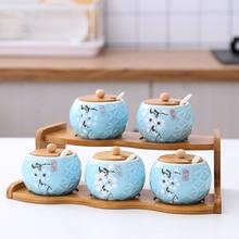 Garden bamboo stand upper layer ceramic glass seasoning can kitchen supplies  box salt   jars and lids