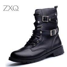 Offre spéciale mode femmes moto bottes dames Vintage Rivet Combat armée Punk Goth cheville chaussures Biker en cuir automne femmes bottes