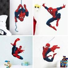 Pegatinas de pared de héroe Spiderman para habitación de niños, calcomanías para decoración del hogar, pegatinas de pared en 3D para niños, regalo de Navidad para niños