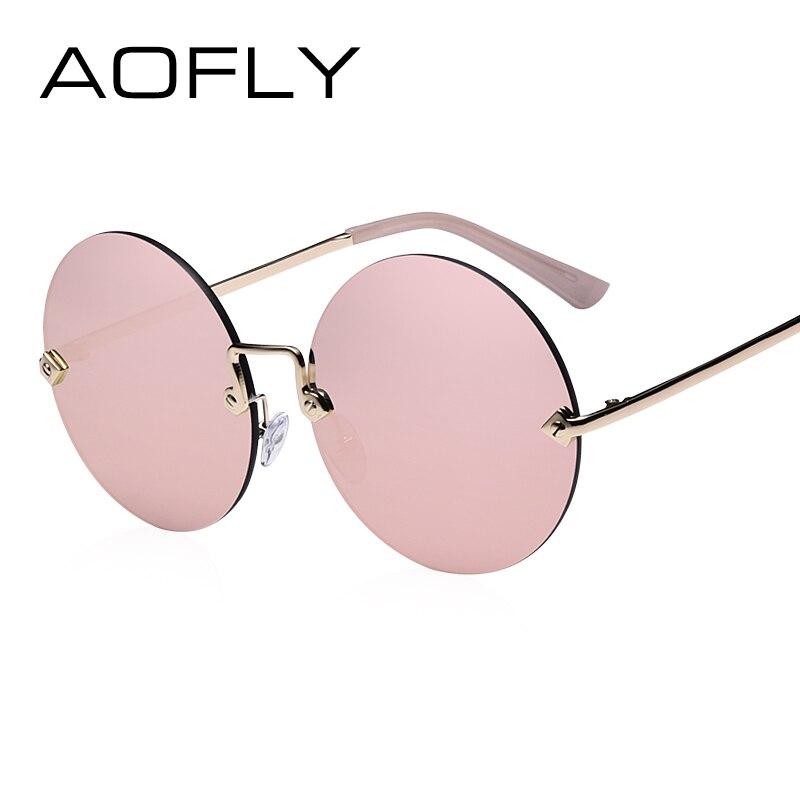 AOFLY Round Rimless Sunglasses Women Vintage Sun Glasses Women Female Brand Design Mirrored Lens UV400 Glasses lunette de soleil
