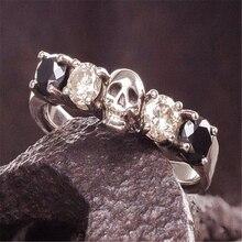 Grand argent crâne anneaux pour hommes de luxe bijoux rempli blanc noir pierre anneau Hip Hop Punk bijoux Cool grand anneau de doigt L3N979
