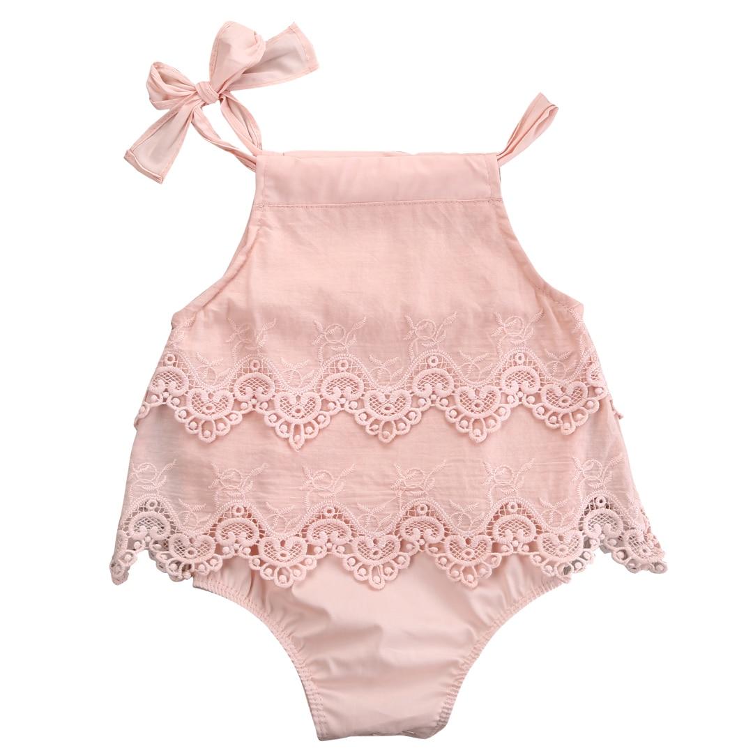 Recién Nacido niñas encaje ganchillo Romper sin mangas Spaghetti mono de tirantes traje Sunsuit flor ropa 0-18M