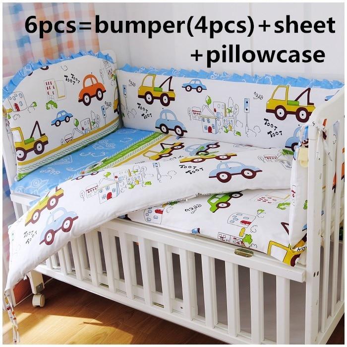 Discount! 6pcs Kids bedding sets baby crib bed clothes baby bedding girl crib sheets ,include(bumper+sheet+pillowcase)