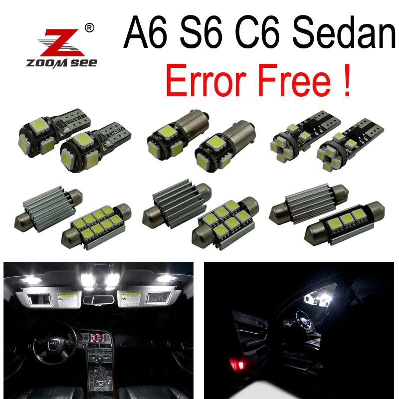 11 piezas x 100% sin errores LED Interior de lectura de luz de cúpula paquete para Audi A6 S6 RS6 C6 sedan (2005-2011)
