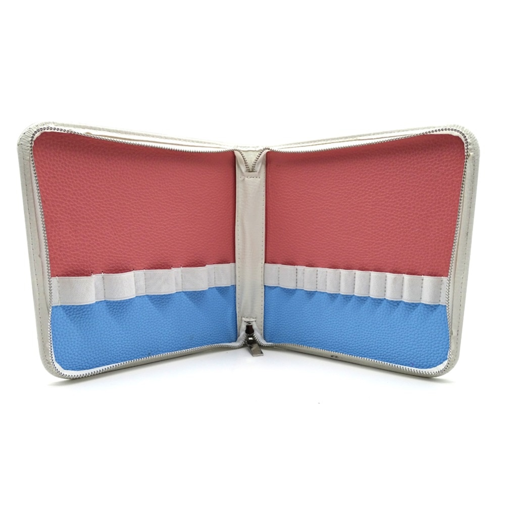 14 bolsillos brochas de maquillaje de Color degradado bolsas de artista estuche con cremallera para hombres y mujeres estuche cosmético