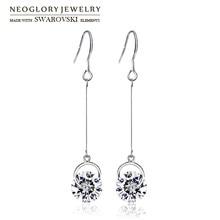 Neoglory autriche cristal & strass boucles doreilles longues élégant coloré boule perles pour les femmes à la mode cadeau classique vente quotidienne