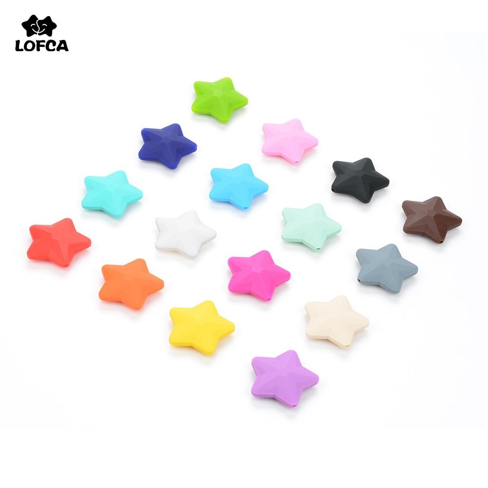 Venta al por mayor de silicona bebé mordedor perlas de calidad superior estrella (40mm) suelta perlas de silicona de grado de alimentos collar de dentición