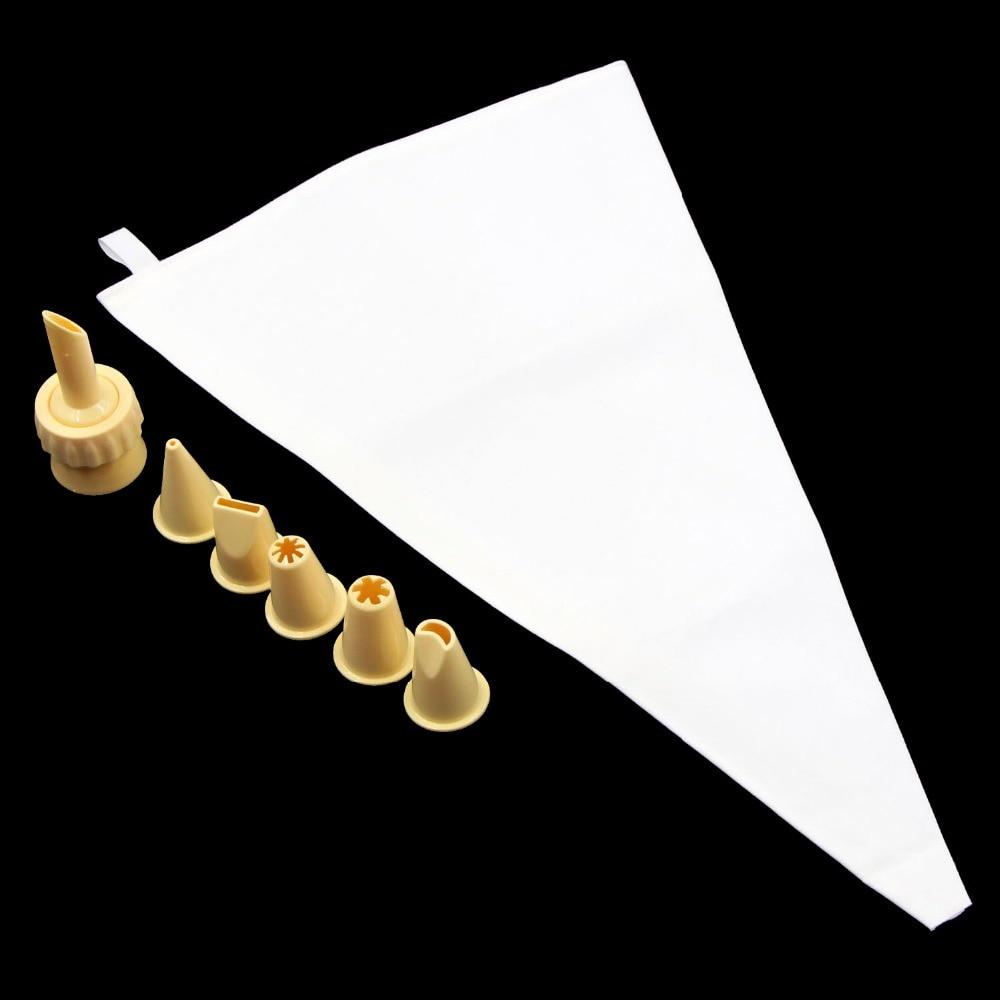 5 Plastic Icing Nozzles Baking Fondant DIY Cake Decorating Tips Set 8PCS/SET Reusable 34CM Cotton Piping Cream Pastry Bag
