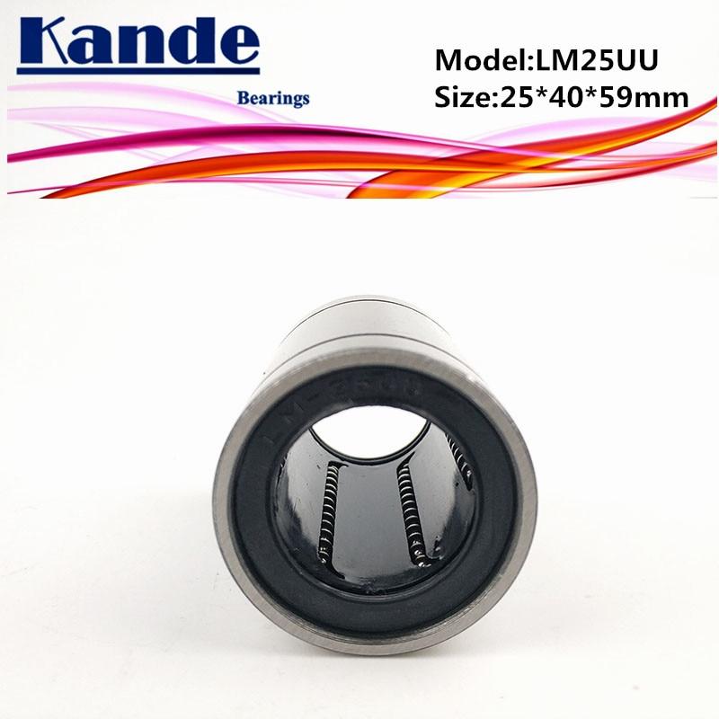 Rodamientos Kande LM25UU, 2 uds., rodamiento lineal LM25UU, 25x40x59mm, rodamiento lineal LM25 UU LM25
