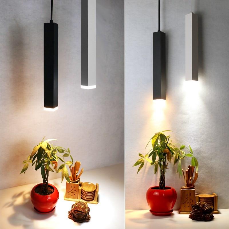 Dimmable Square led pendant light Aluminum&metal home 12W white/ black  hang lamp dining/living room bar cafe droplight fixture