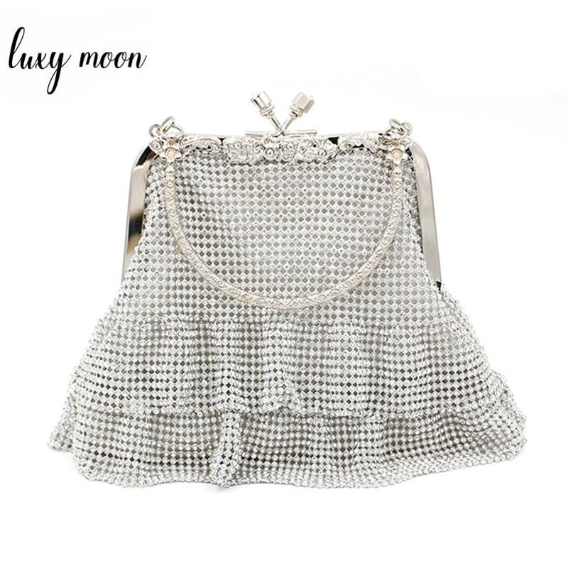 Bolso de mano con cuentas de diamantes Mini bolsos de moda bolso de mano de noche bandolera con cadena para mujer bolso de fiesta exquisito bolso de boda ZD1188
