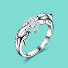 Mignon vent 925 bague en argent sterling femme dauphin conception solide bague en argent bijoux de charme bijoux populaires bijoux livraison gratuite
