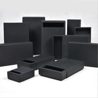 Black Cardboard box Paper Drawer boxes Wedding Black Gift Packing Paper Box For Jewelry/Soap/Scarf/Candy/Perfume packaging box