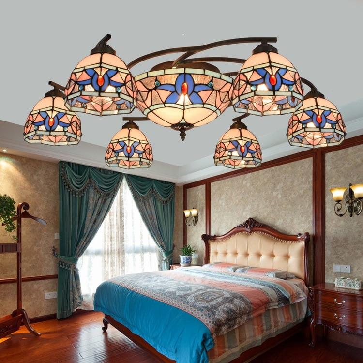 European Baroque Pastoral  Tiffany Round Glass Ceiling Light Lampshade lamparas de techo abajur   E27 110-240V