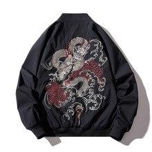 Bomber Jacke Männer Chinesischen Drachen Stickerei Pilot Jacke Retro Punk Hip Hop Jacke Herbst Jugend Streetwear High Street Hipster