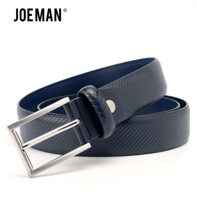 Cinturones clásicos de cuero genuino a rayas para hombre, cinturón informal de 3,5 cm de ancho, negro, azul oscuro, marrón oscuro, Ceinture homme