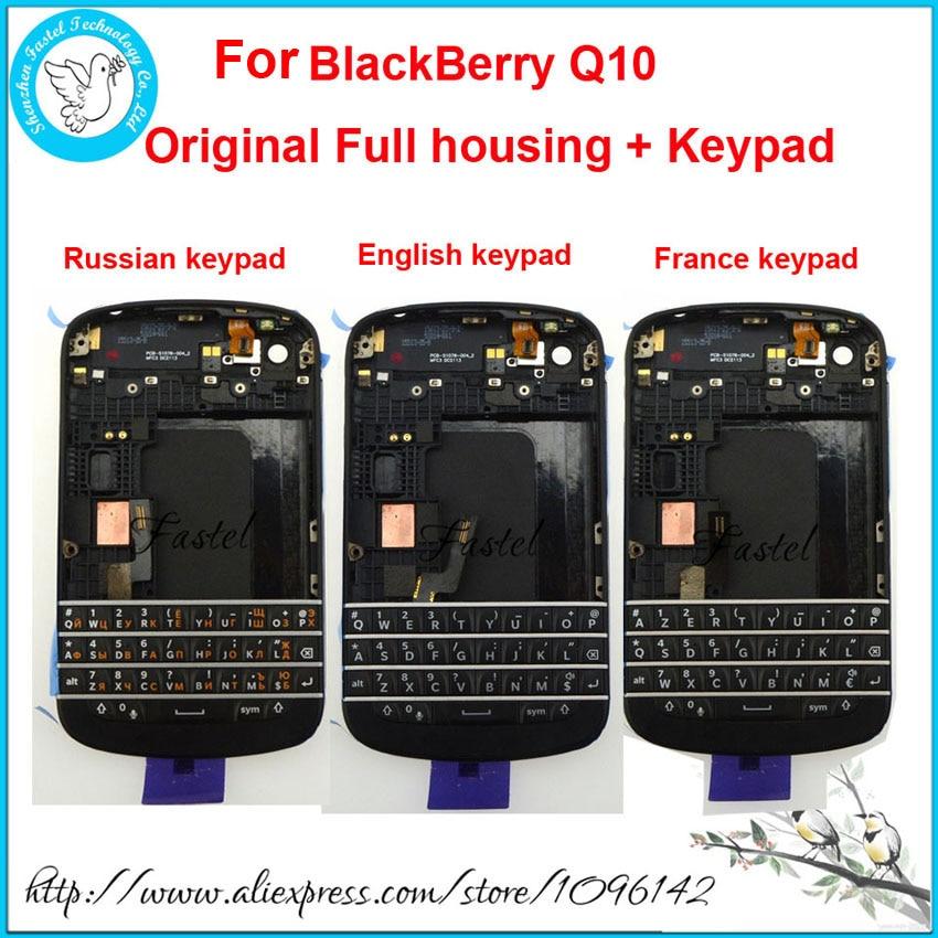 Para BlackBerry Q10 Original nuevo completo carcasa de teléfono móvil + marco funda + ruso Francia inglés teclado con Flex