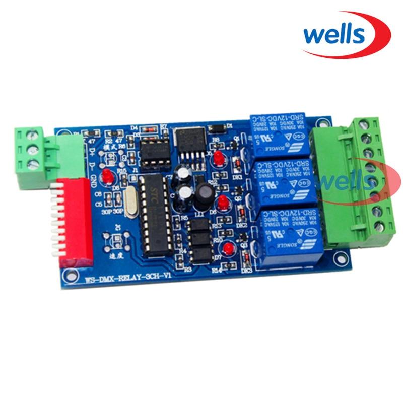 Оптовая продажа 3CH DMX 512 релейный выход, светодиодный контроллер dmx512, светодиодный декодер DMX512, релейный переключатель контроллера
