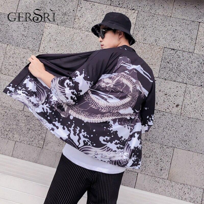 Gersri hombres camiseta suelta Patchwork Camisa Masculina camiseta chemise homme para hombre streetwear Japón Corea del estilo kimono