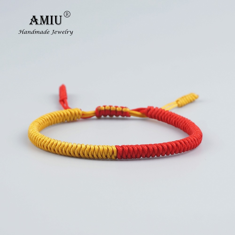 AMIU тибетские ювелирные изделия буддийский счастливый Шарм тибетские браслеты и браслеты для женщин и мужчин ручной работы узелки веревки б...