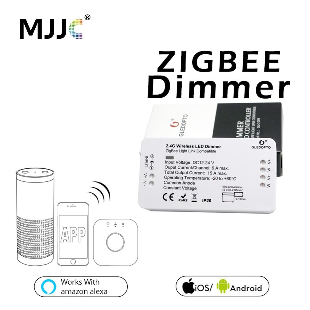 Zigbee LED atenuador 24V DC 12V 360W inteligente aplicación de Control de luz de tira de luz regulador Dimmer para la tira de LED controlador de potencia