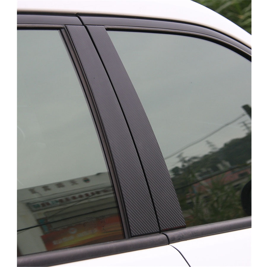 Fibra de carbono para Jeep Compass 17 + Exterior coche ventana Post puerta medio + cola Pilar cubierta decoración tira pegatina 8 unid/set