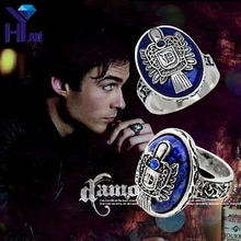 Anillo Vintage The Vampire Diaries D Salvatore Damon de Elena, anillos Punk lapislázuli de cristal azul, joyería US 6-12