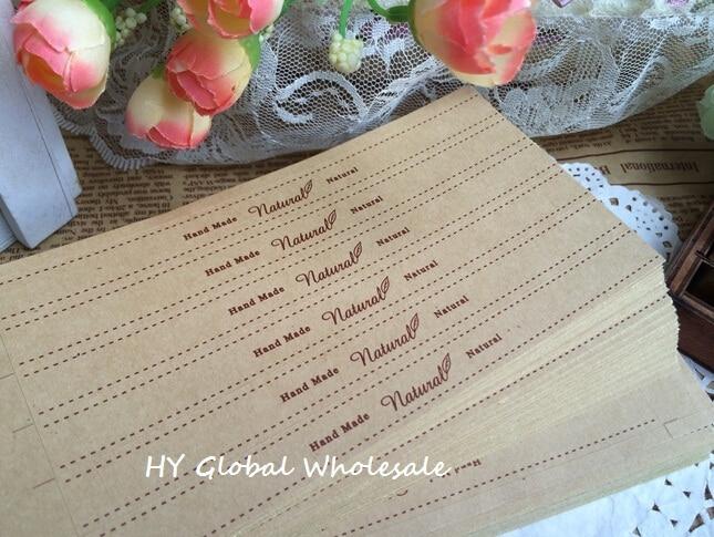 60PCS/Lot vintage Natural series Kraft paper Hand  Made  Sealing sticker/ DIY Gift  posted / Baking Decoration packaging label