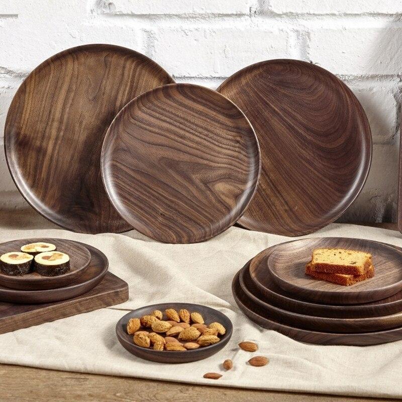 الجوز الأسود صينية تقديم خشبية أطباق فاكهه الخشب لوحة دائرة البليت النمط الياباني المجففة أطباق فاكهه