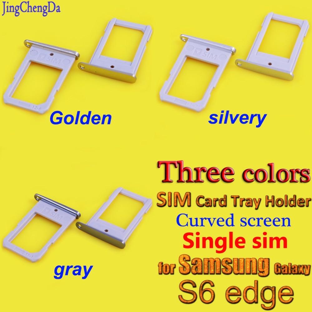 Лоток для Sim-карты для Samsung Galaxy S6 Edge, лоток для Sim-карты с изогнутым экраном, держатель слота для SIM-карты, части корпуса для одной Sim-карты, Золо...