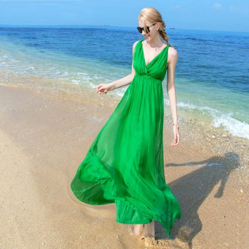 المرأة فستان حريري طويل شاطئ فستان شل 100% الحرير الطبيعي الصلبة فستان صيفي فساتين الخامس الرقبة أكمام شحن مجاني HOT البيع