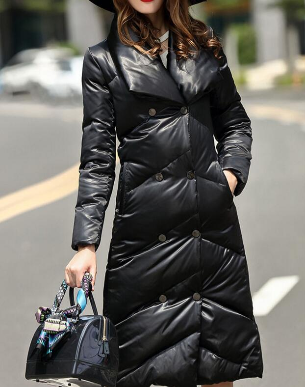 New Fashion Large Collar ThickWinter Women Down Coat Thick Warm Winter Duck Down Coat Long 90% Down Jacket Plus Size Women Coat