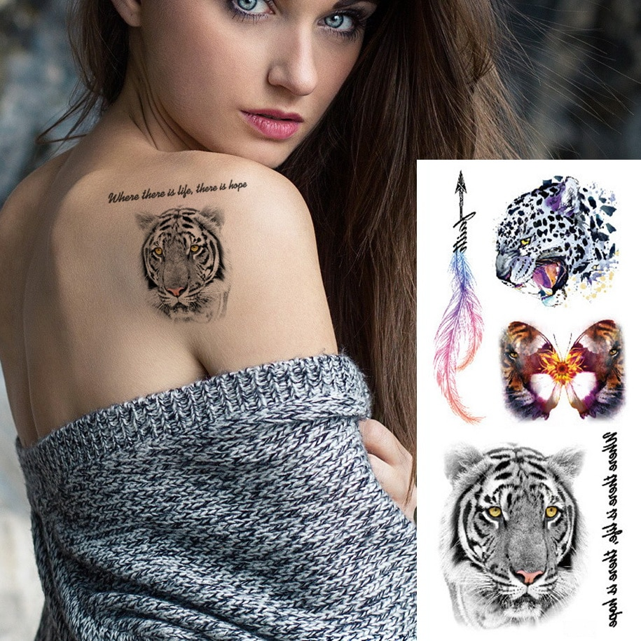 19*9cm tatuaje temporal pegatina plumas coloridas mariposa Tigre impermeable flor esternón cuerpo tatuaje para brazo set mujeres hombres niños