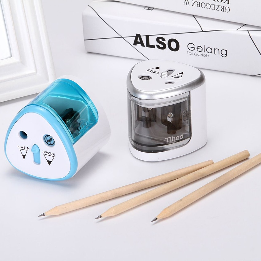 Автоматическая электрическая точилка для карандашей с двумя отверстиями для покраски/деревообработки, Пластиковая точилка для карандашей...