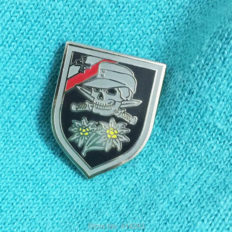 Sword Skull Bone Crossed Insignia 1 WWII Germany Army Lapel Pin Enamel Cap Pins World War 2 Edelweiss Badge