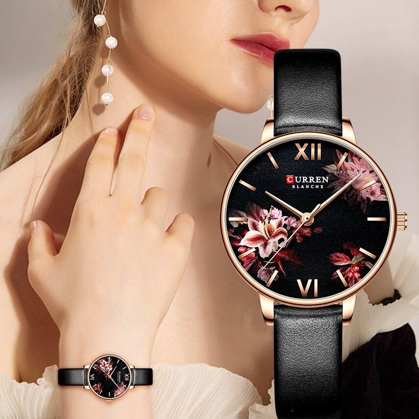 CURREN Women Girl Watch Flower Garden Ultra-thin Black Leather Strap Quartz Lady Fashion Dress Wristwatches Relogio Feminino New enlarge