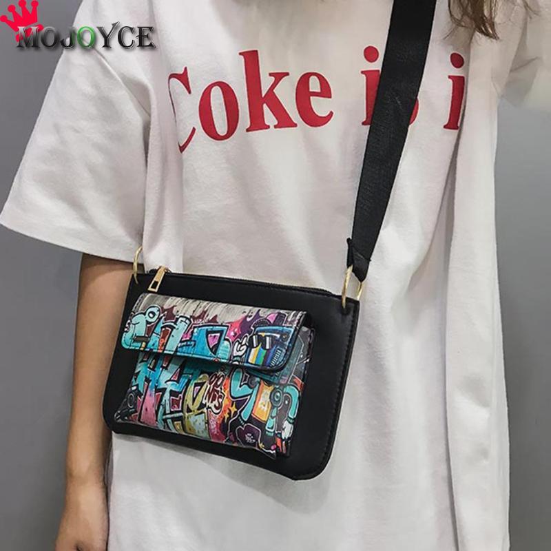 Fashion Women Crossbody Bag Street Graffiti Girls PU Leather Messenger Bags Zipper Casual Mini Travel Shoulder Bag Purses