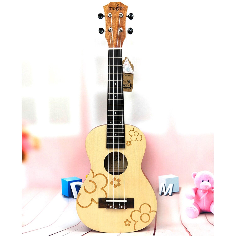 21 pulgadas Soprano Uke 4 cuerdas Uku abeto flores guita ukelele guitarra acústica pequeña ukelele profesional uke concierto
