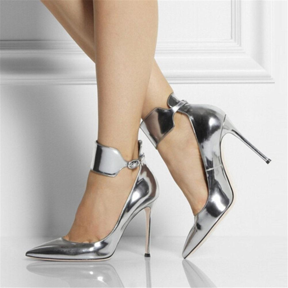 حذاء نسائي بكعب عالٍ ورفيع ، حذاء نسائي فضي بمقدمة مدببة ، حزام كاحل ، تصميم العلامة التجارية ، مقاس كبير 47 ، 2020