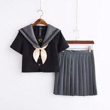 Chemise noire + jupe grise Costumes de marin spécial été lycée étudiant JK uniforme japon coréen école fille Costume