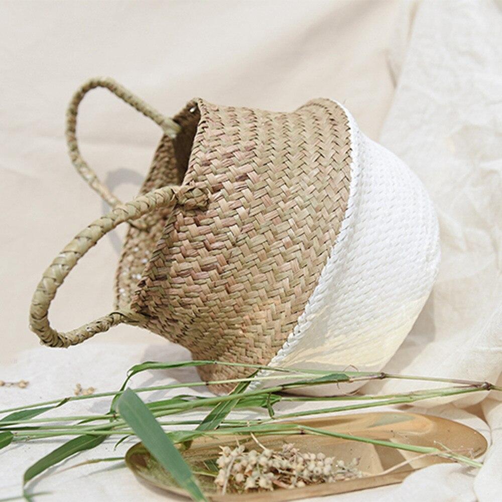 Cestas de almacenamiento bolsas de vacío para mimbre/paja cesta de flores cesta plegable de almacenamiento sucio hogar Drop shipping Aug10