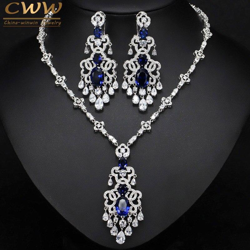 CWWZircons alta calidad azul real Zirconia cúbica Africana gran Declaración pendiente collar conjunto para mujeres joyería para fiesta de noche T276