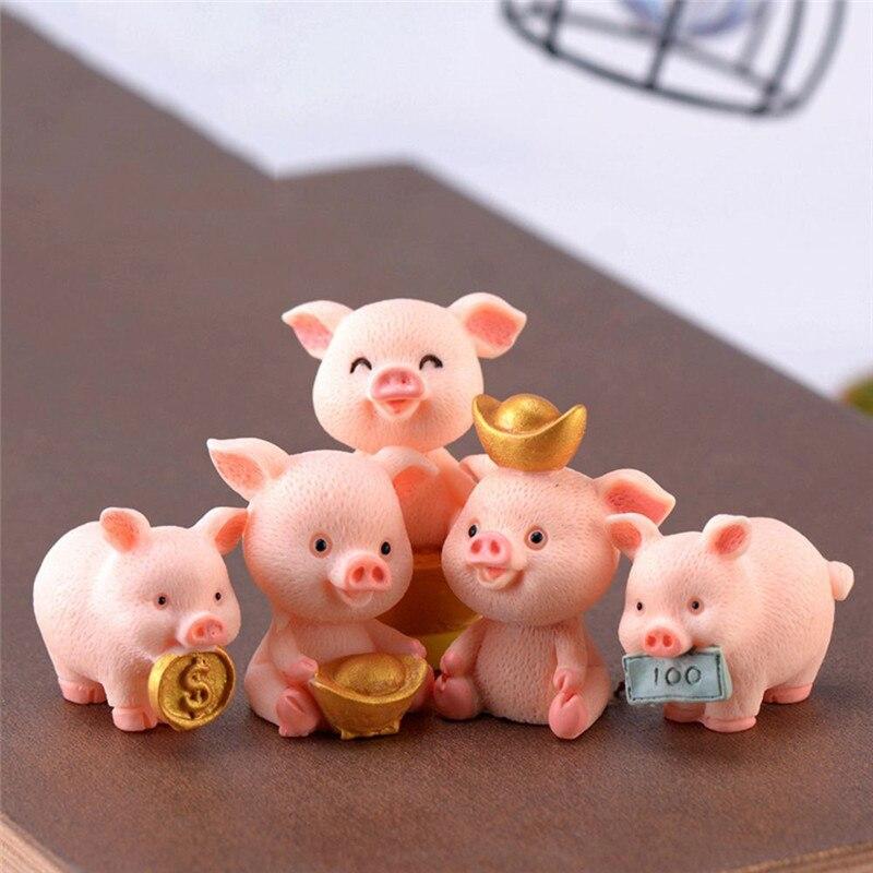 5 arten Entzückende Miniatur Schwein Figuren Miniatur Figur Spielzeug Fee Garten Gnome Moos Terrarium Geschenk DIY Ornament Garten Decor