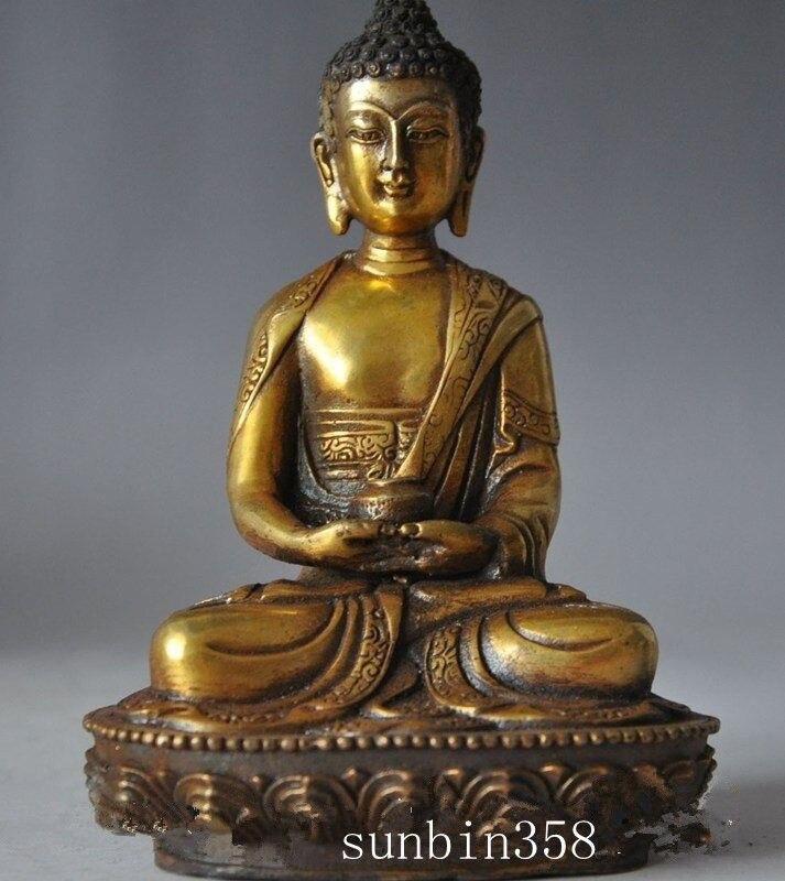 "6 ""chino Tíbet budismo latón bronce Sakyamuni medicina Buda estatua 15 cm altura jardín decoración 100% bronce real"