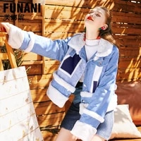 loose and thicked jacket fleece denim jacket womens winter 2018 warm plush cotton padded jacket