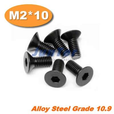 1000 unids/lote DIN7991 M2 * 10 tornillo de cabeza plana de acero de aleación Grade10.9
