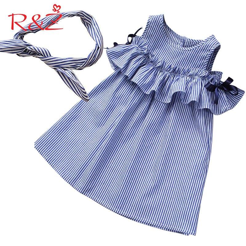 R & Z-vestido para bebé niña, 2019, sin mangas, verano a rayas, algodón, volantes, corte en A, vestidos + diadema, 2 uds, ropa para niños