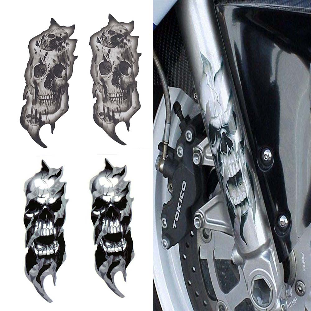 1Pair Universal Motorcycle Bike Front Fork Skull Zombie Decals Graphic Stickers Moto for Kawasaki Honda Yamaha Harley